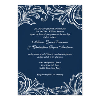"Vintage Damask Wedding Invitation Navy Blue White 5"" X 7"" Invitation Card"