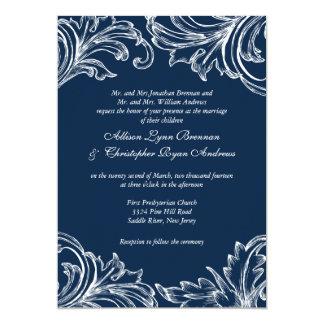 Vintage Damask Wedding Invitation Navy Blue White