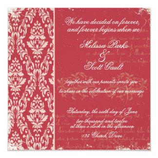 Vintage damask wedding invitation Red