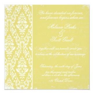 Vintage damask wedding invitation Yellow