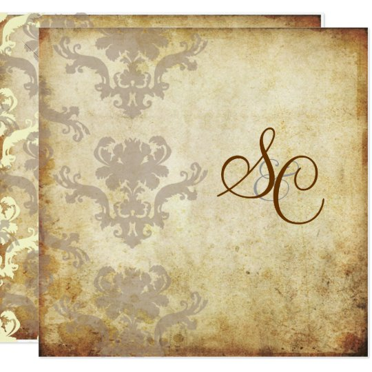 VINTAGE DAMASK WEDDING INVITATIONS