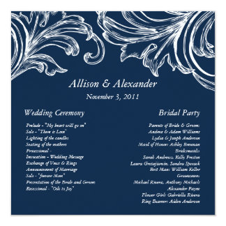 Vintage Damask Wedding Program Navy Blue & White