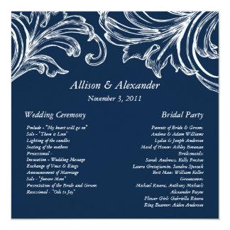Vintage Damask Wedding Program Navy Blue & White 13 Cm X 13 Cm Square Invitation Card