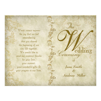 Vintage damask wedding programs custom flyer