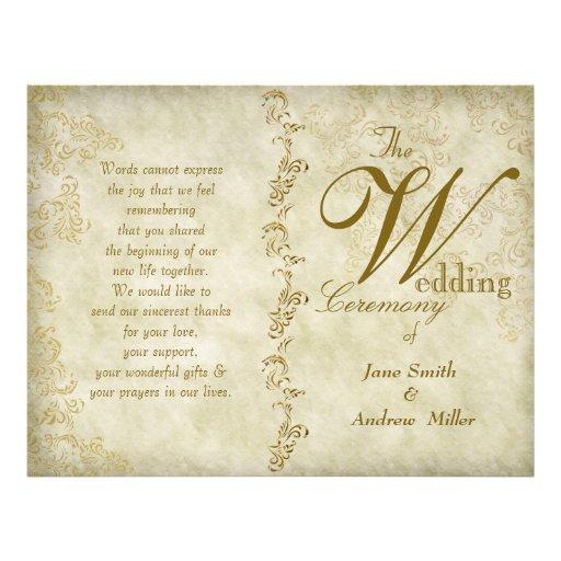 Vintage damask wedding programs custom flyer