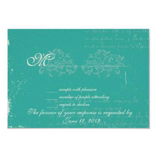 Vintage damask wedding RSVP 9 Cm X 13 Cm Invitation Card