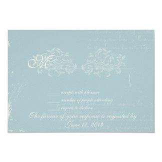 Vintage damask wedding RSVP Blue Card