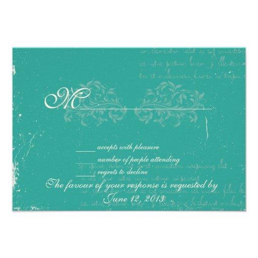 Vintage damask wedding RSVP Personalized Invite