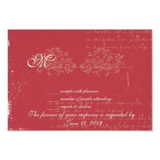 Vintage damask wedding RSVP Red Card
