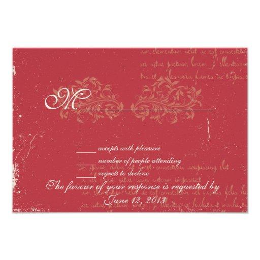 Vintage damask wedding RSVP Red Custom Invites