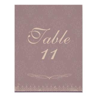 Vintage Damask Wedding Table Numbers Purple Custom Invitation