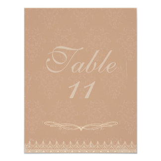 Vintage Damask Wedding Table Numbers Rose Pink Card
