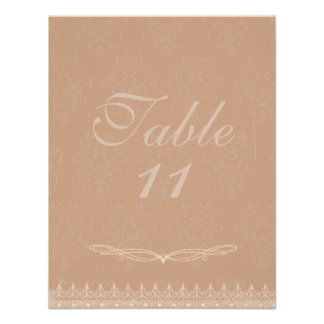Vintage Damask Wedding Table Numbers Rose Pink Personalized Announcements