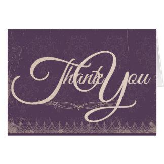Vintage Damask Wedding Thank You Card