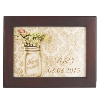 vintage damask western floral mason jar wedding keepsake box