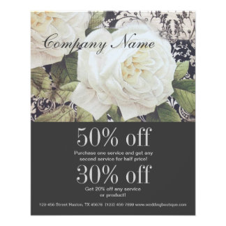 vintage damask white rose floral fashion 11.5 cm x 14 cm flyer