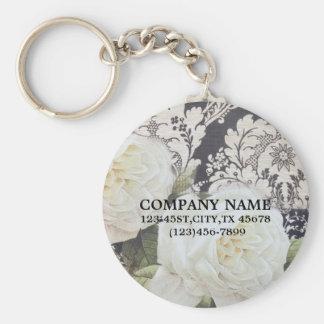vintage damask white rose floral fashion business basic round button key ring
