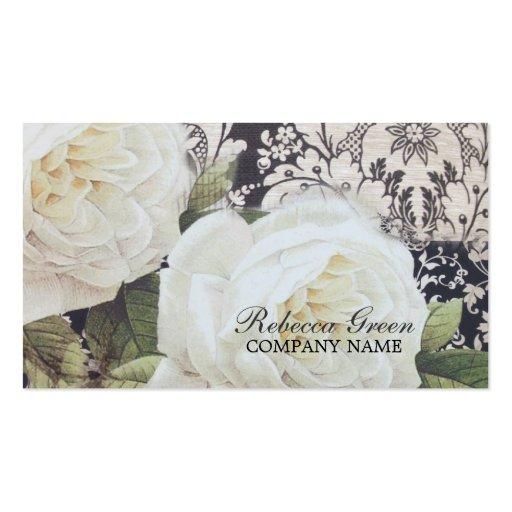 vintage damask white rose floral fashion business business card