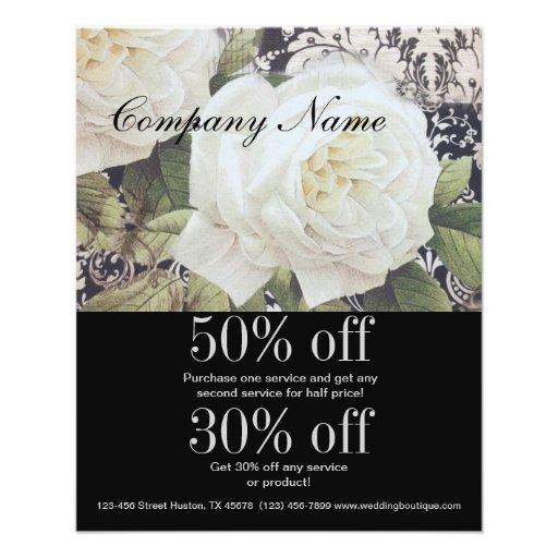 vintage damask white rose floral fashion business flyer design