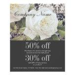 vintage damask white rose floral fashion flyers