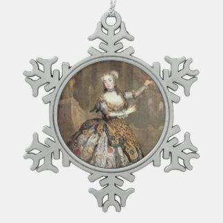Vintage Dancer Snowflake Pewter Christmas Ornament
