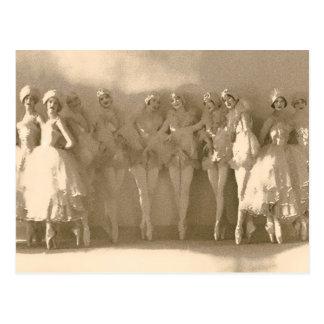 Vintage dancers on tiptoe, with tule postcard