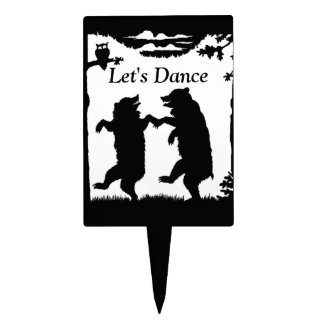 Vintage Dancing Bears Black Silhouette Trees Owl Rectangle Cake Topper