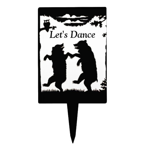 Vintage Dancing Bears Black Silhouette Trees Owl Rectangle Cake Topper