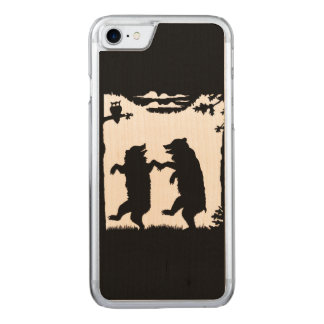 Vintage Dancing Bears Black Silhouette Trees Owl Carved iPhone 7 Case
