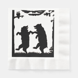 Vintage Dancing Bears Black Silhouette Trees Owl Disposable Serviette