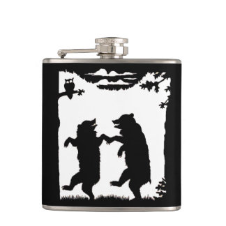 Vintage Dancing Bears Black Silhouette Trees Owl Flasks