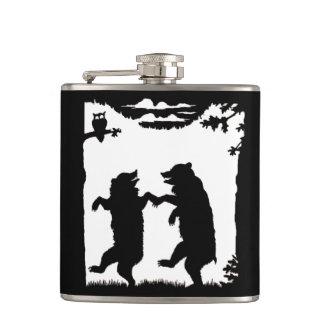 Vintage Dancing Bears Black Silhouette Trees Owl Hip Flask