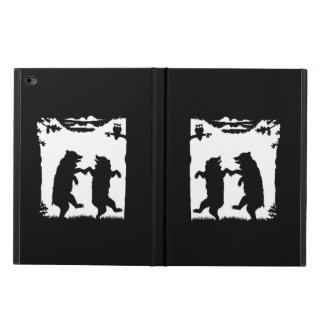 Vintage Dancing Bears Black Silhouette Trees Owl