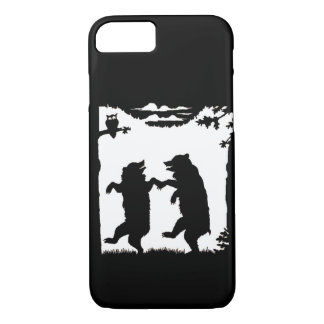 Vintage Dancing Bears Black Silhouette Trees Owl iPhone 7 Case