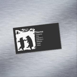 Vintage Dancing Bears Black Silhouette Trees Owl Magnetic Business Cards