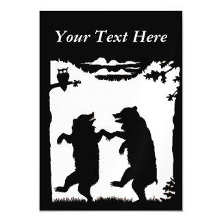 Vintage Dancing Bears Black Silhouette Trees Owl Magnetic Invitations