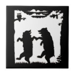 Vintage Dancing Bears Black Silhouette Trees Owl Small Square Tile