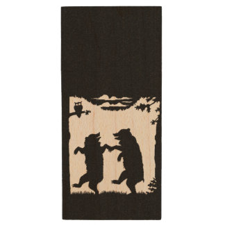 Vintage Dancing Bears Black Silhouette Trees Owl Wood USB 2.0 Flash Drive