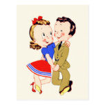 Vintage Dancing Couple Postcard