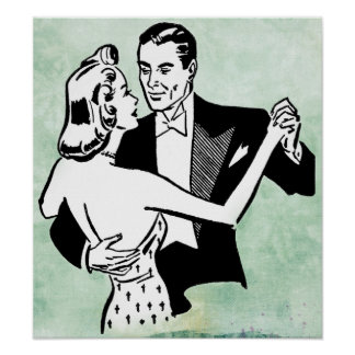 vintage dancing couple poster