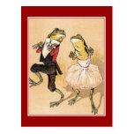 Vintage Dancing Frogs Postcard