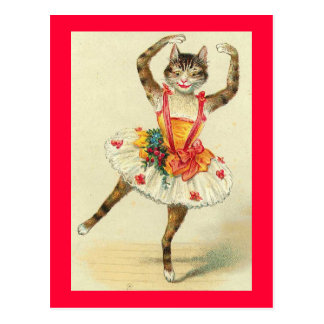 Vintage Dancing Kitty Postcard