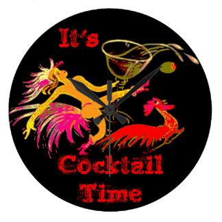 Vintage Dancing Lady Martini Rooster Cocktails Bar Large Clock