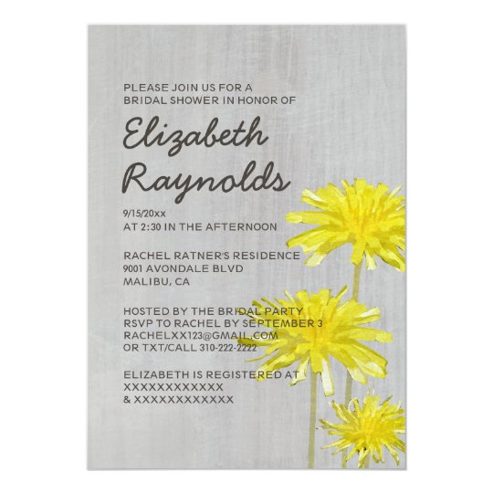 Vintage Dandelions Bridal Shower Invitations