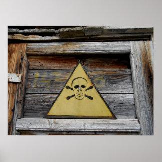 Vintage Danger Sign On Rustic Wood Poster