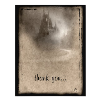 Vintage Dark Castle Gothic Thank You 11 Cm X 14 Cm Invitation Card