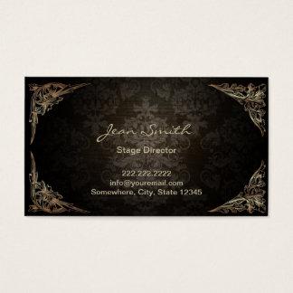 Vintage Dark Damask Stage Director Business Card