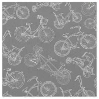 Vintage Dark Gray Bicycle Pattern Fabric