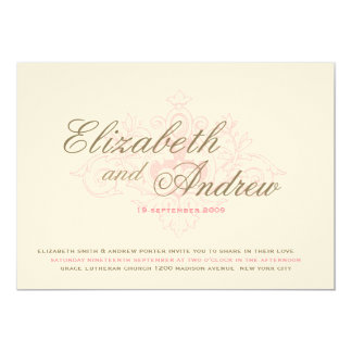 Vintage Darling Wedding Invitation in Pink