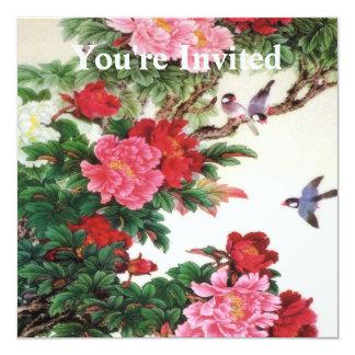 Vintage Dawn Of Spring Japanese Artwork 13 Cm X 13 Cm Square Invitation Card